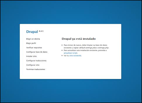 Captura de pantalla que marca la instalación completa de drupal.
