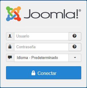 Imagen que muestra la pantalla de Joomla! donde se debe introducir usuario, contraseña y seleccionar idioma