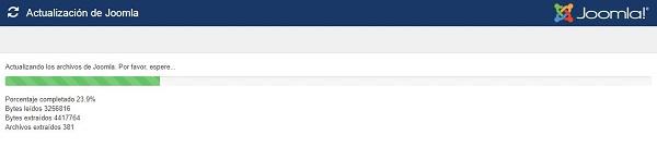 Imagen que muestra la barra de progreso de la instalación de la actualización.