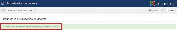 Imagen que muestra que la actualización de Joomla! ha finalizado correctamente.