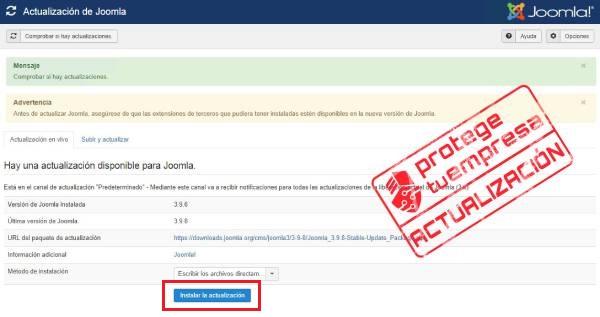 Imagen que muestra la pantalla de Joomla! donde aparece el botón instalar la actualización.