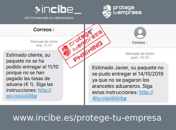 Imagen que muestra los dos tipos de SMS que suplantan la identidad de correos.