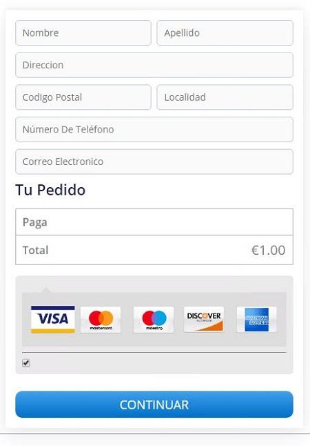 Imagen que muestra el formulario de recogida de datos personales.