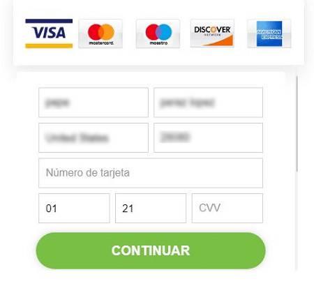Imagen que muestra la recogida de los datos de la tarjeta de crédito