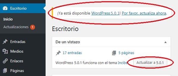 Imagen que muestra los botones de actualización de WordPress, donde se indica que hay una versión disponible.