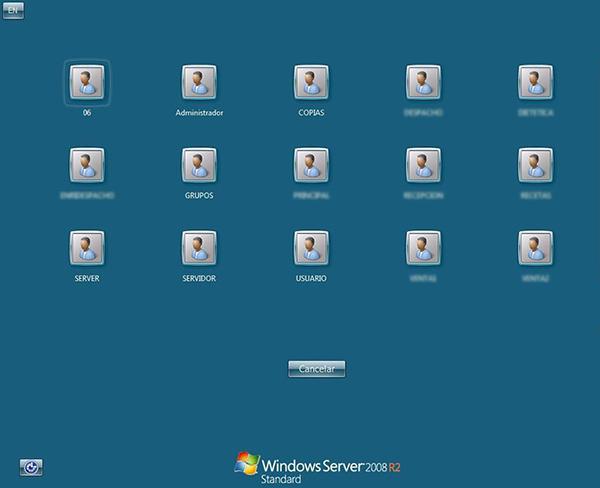 Segundo ejemplo de captura de pantalla de un servidor RDP en Shodan con múltiples usuarios.