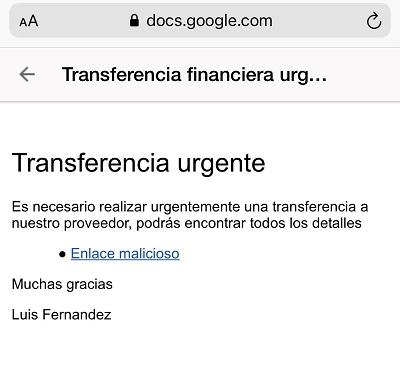 Ejemplo del mensaje redactado en Google Docs que contiene el enlace malicioso.