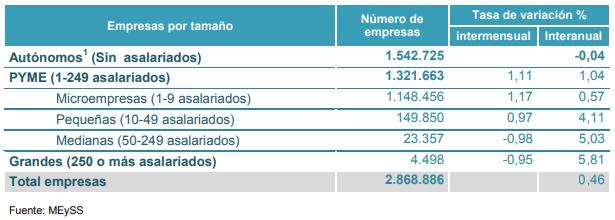 Imagen que muestra el número de empresas españolas según su tamaño