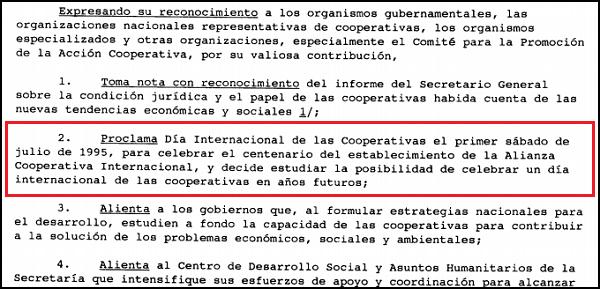 Imagen que muestra la resolución 47/90 de la Asamblea General de Naciones Unidas donde se proclama el Día Internacional de las Cooperativas-