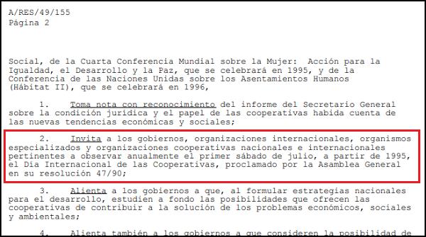 Imagen que muestra la resolución 49/155 de la Asamblea General de Naciones Unidas donde se invitó a diferentes estamentos y organismos a observar anualmente el primer sábado de julio como Día Internacional de las Cooperativas.