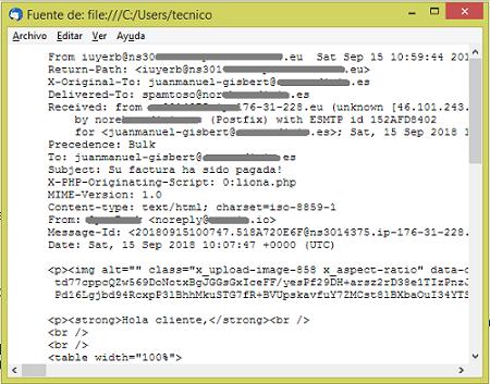Mozilla cabeceras correo