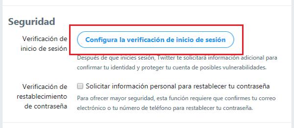 Imagen que forma parte de las opciones de seguridad que configura la verificación de inicio de sesión. De esta forma, Twitter solicitará información adicional para confirmar la identidad y proteger la cuenta.
