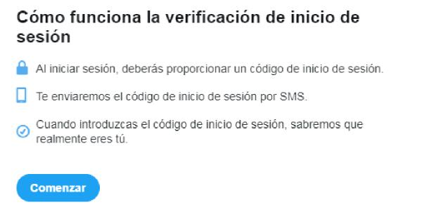 Imagen que muestra 3 pasos para verificar el inicio de sesión: 1 al iniciar sesión, se proporciona un código; 2 se envía el código vía SMS; 3 se introduce para verificar la identidad.