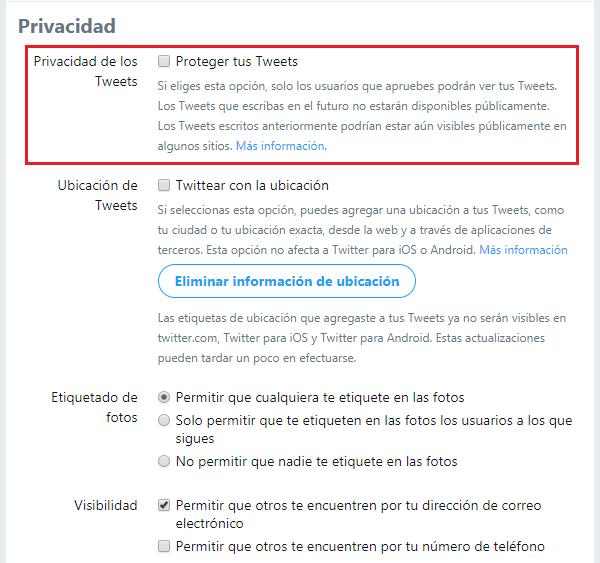 Imagen que muestra las opciones de privacidad de los Tweets.
