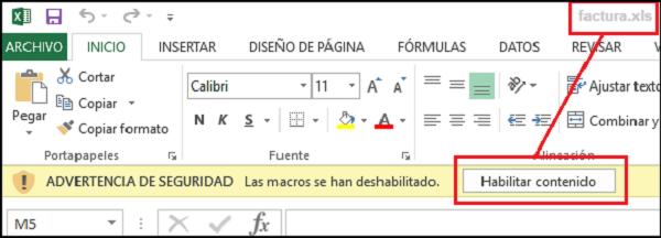 Imagen que muestra un archivo de excel llamado factura.xls que pide habilitar el contenido (macros).