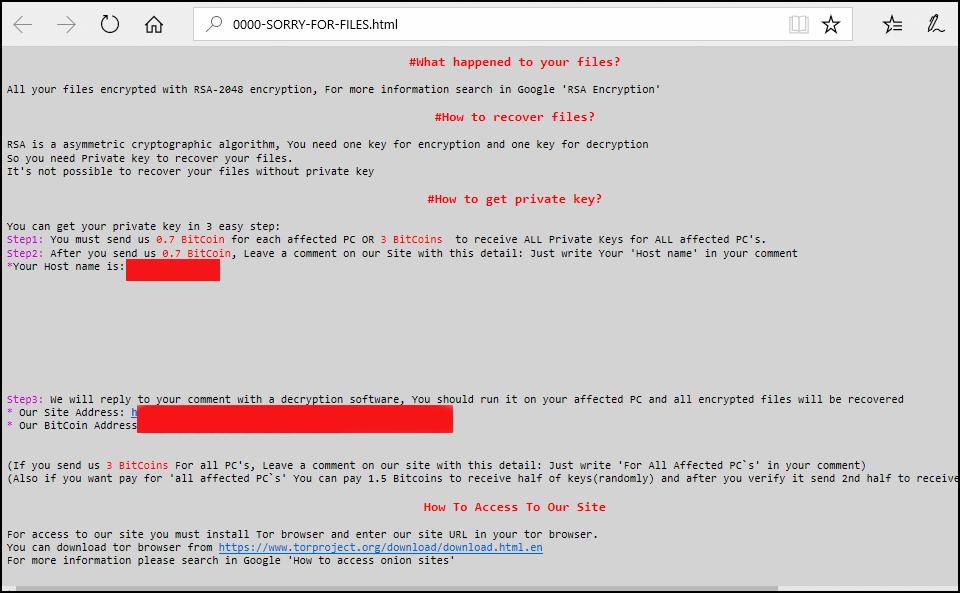 imagen de bloque de virus tipo ransomcware conocido como samsam