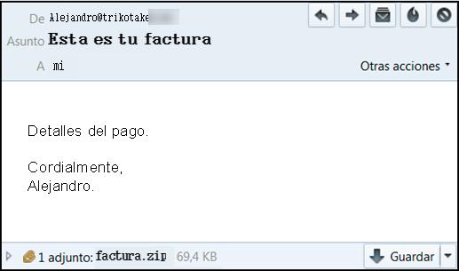 Imagen que muestra el correo electrónico fraudulento, donde se puede ver remitente y adjunto factura punto equis ele ese.