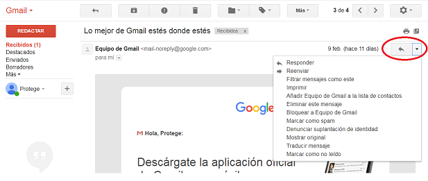 Gmail - desplegable