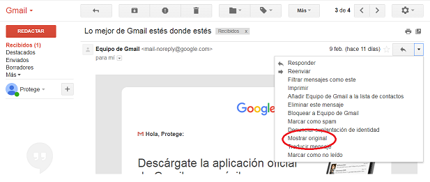 Gmail - mostrar original