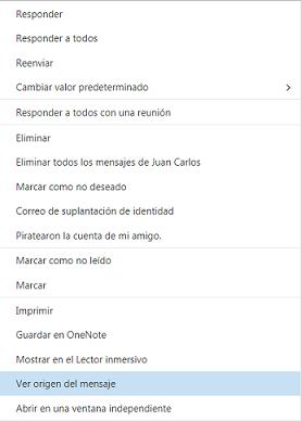 Hotmail - origen del mensaje