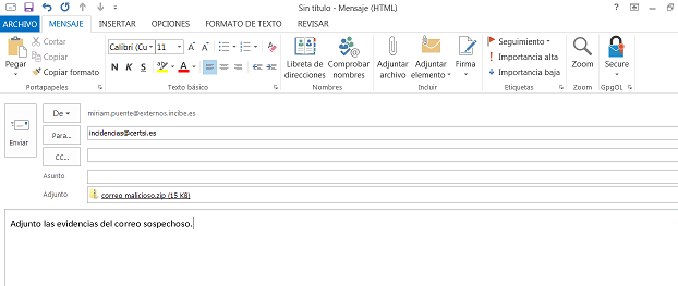 Outlook enviar evidencia