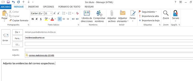 Outlook enviar evidencia
