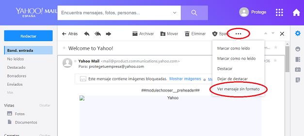 Yahoo - mensaje sin formato
