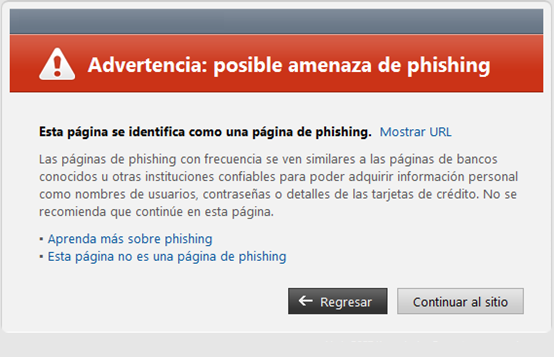 Advertencia: posible amenaza de phishing